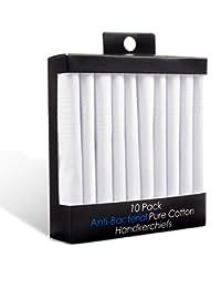 10 Pack Anti-Bacterial 100% Pure Cotton Men's Handkerchiefs White - Hanky Hankie