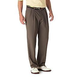 Haggar Mens Cool 18 Pleated Front Pant, Bark, 31-32