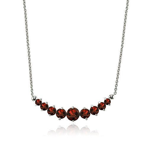 Lovve Sterling Silver Garnet Graduated Journey Necklace with 18 Inch Chain