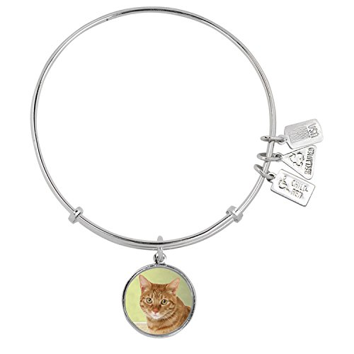 Orange Cat Charm - Wind & Fire Two-Tone Brass Orange Cat Charm Bangle Bracelet, Adjustable 6.5