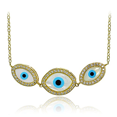 Yellow Gold Flashed Sterling Silver Cubic Zirconia Triple Evil Eye ()
