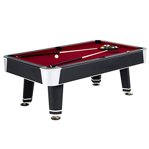 Standard Billiard Pool Table and Accessories, Full Set, 7.5' - All-Purpose Billiards, Pool, and Snooker Tables with Balls, Cues, and Rack - Sports Games for Arcades, Rec Rooms, Bars, Home (The Level Best Floor Pool Cue Rack)