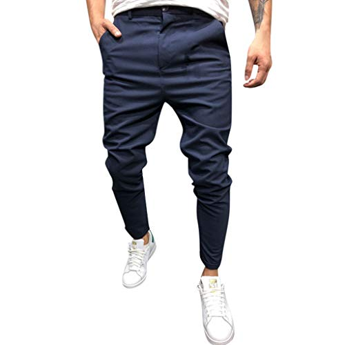 - Pants for Men Skinny Fit Classic Casual Pure Color Outdoor Ankle-Length Pencil Pants (XL, Navy)