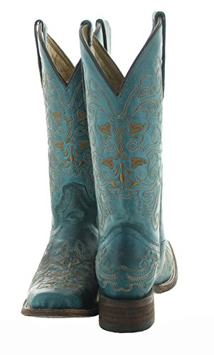 Corral Dames Vierkante Neus Western Boots Turquoise, Zand