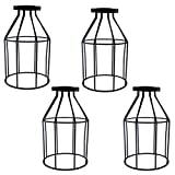LEDMOMO 4pcs Vintage Chandelier Lamp Shades, Bridcage Design Clip On Lamp Shades Light Racks Lamp Shade for Hotel Restaurant Home (Black)
