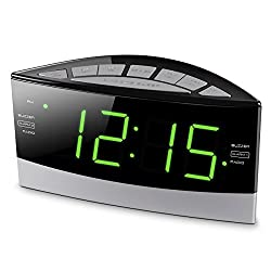 Hannlomax HX-100 Dual Alarm Clock, AM/FM Radio, 1.8 Large Green LED Display, Aux-in, Sleep & Snooze Function, Dimmer Control