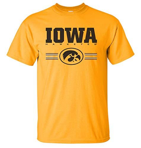 - CornBorn Iowa Hawkeyes Tee Shirt - Iowa Hawkeyes Horizontal Stripe with Oval Tigerhawk - Gold - 5X