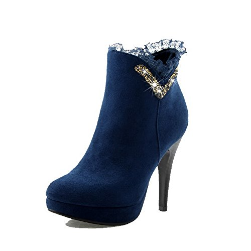 Ankle high Closed Round High Heels AgooLar Boots Blue Solid Women's Frosted Toe 0qwC4