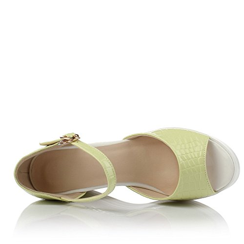 Amoonyfashion Donne Tacchi Alti Fibbia In Materiale Morbido Sandali Peep-toe Verde