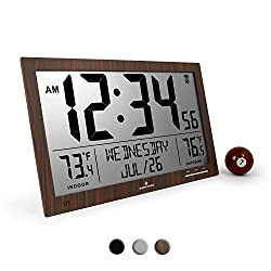 Marathon CL030066WD Slim Atomic Full Calendar Clock with Extra Large 4.5 Digits and Indoor/Outdoor Temperature (Wood Tone) - Batteries Included