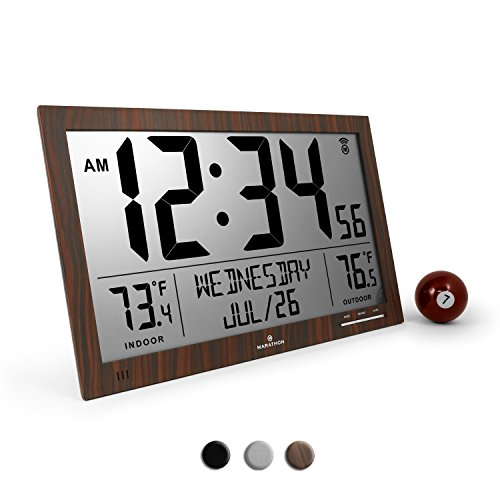 Marathon CL030066WD Slim Atomic Full Calendar Clock with Extra Large Digits and Indoor/Outdoor Temperature (Wood Tone) - Batteries Included