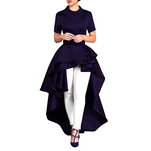 Short Sleeve Velvet Skirt - Kangma Women Short Sleeve High Low Peplum Dress Bodycon Casual Party Club Dress