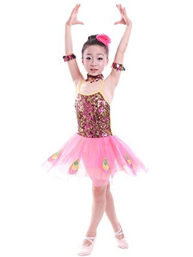 BOZEVON Kids Girls Sequin Dance Costumes Tutu Skirt Peacock Dance Sleeveless Performances Dress Dance Wear, Pink, US 140=Tag150 ()
