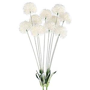GTIDEA 28 INCH Artificial Dandelion Flowers White Outdoor Fake Plants Plastic Shrubs Bushes Farmhouse Home Patio Galvanized Milk Jug Filler Decor Pack of 2 11