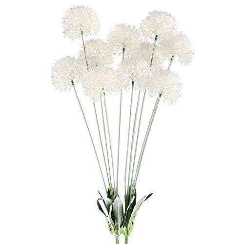 (GTIDEA 28 INCH Artificial Dandelion Flowers White Outdoor Fake Plants Plastic Shrubs Bushes Farmhouse Home Patio Galvanized Milk Jug Filler Decor Pack of 2)