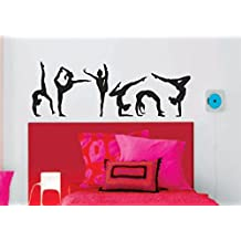 Gymnastics Girls Silhouettes Set of 6 Wall Vinyl Decal Stickers Art Girl Nursery Home Wall Decor