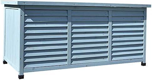 屋外収納 ロッカー ソリッドウッド工具収納ボックス低ストレージキャビネット防水屋外バルコニーガーデンコートヤード デッキボックス (色 : 青, Size : 132.2x66x60.5cm)