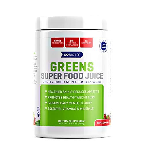 - GoBiotix Greens Superfood Juice - Organic Green Veggie Powder - 20+ Fruits & Vegetables - Promotes Gut Health - Antioxidant with Probiotic Blends - Gluten Free Non-GMO Vegan - Apple Banana 450g