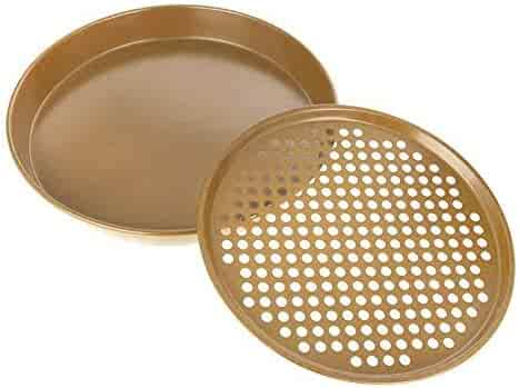 Curtis Stone Dura-Bake 2-piece Pizza Pan Set 573420-710 Gold (Certified Refurbished)
