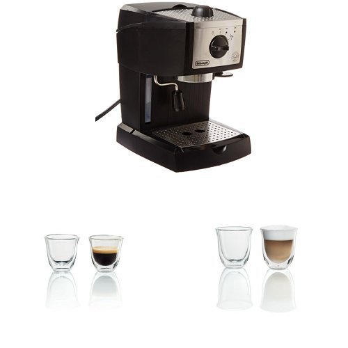 De'Longhi EC155 15 BAR Pump Espresso and Cappuccino Maker with set of 2 Espresso and Cappuccino Glasses