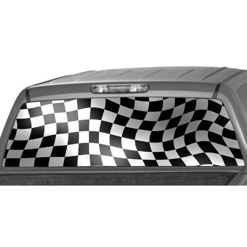 RACING CHECKER FLAG Rear Window Graphic Decal Tint Sticker Truck suv ute mini van -