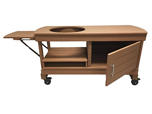 J S Designs Shop, LLC Big Green Egg Cabinet Table for Extra Large BGE with Free Drop Leaf Shelf (The Best Egg Drop Design)