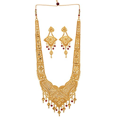 Traditional Indian Gold Jewelry - Jwellmart Women's Indian Ethnic Traditional Gold Plated Rani Haar Necklace Jewelry Set for Women and Girls (Gold)