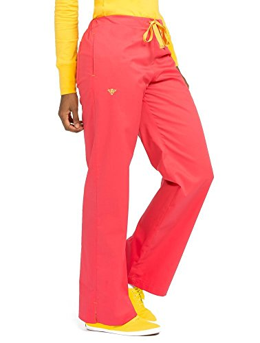 Med Couture Women's Signature 8705 Drawstring/Elastic 3 Pocket Scrub Pant- Tangerine/Honey- Large ()