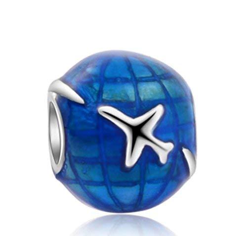 J&M Blue Enamel Airplane Navigation/Travel Around the Globe/World Charm Bead for Bracelets