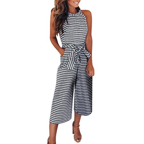 Anixnke Women Striped Sleeveless Halter Neck Jumpsuits Wide Leg Trousers with Bowknot (M, Gray) by Anxinke