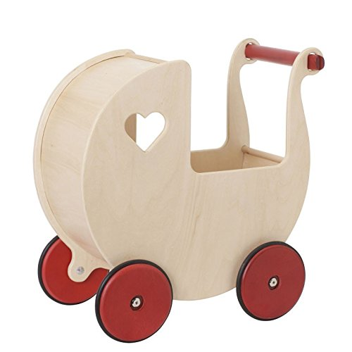 Moover® Miniature Doll Pram, Natural Wood - Fits Very Small Dolls up to 7