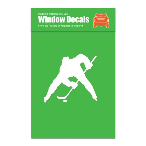 (Ice Hockey Player Face Off Car Window Decal)