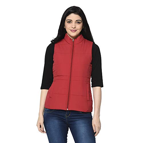 Trufit Women's Solid Sleeveless Padded Quilted Jacket