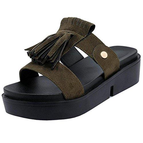 Flatform Womens TAOFFEN Slip Slippers Sandals On TAOFFEN Womens Green Slip 0qwCq4v