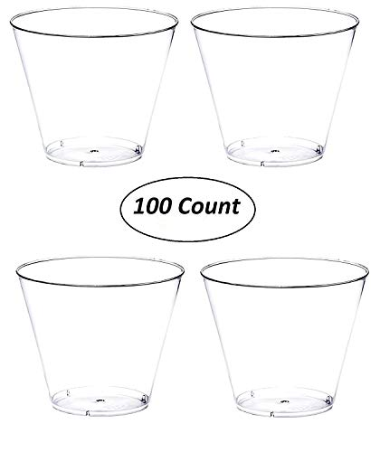 Oojami Hard Plastic 9-Ounce Party Cups/Old Fashioned Tumblers, 100 Count, Clear