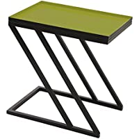Rectangular Side Table MOSS with yellow-green enameled top and black base.