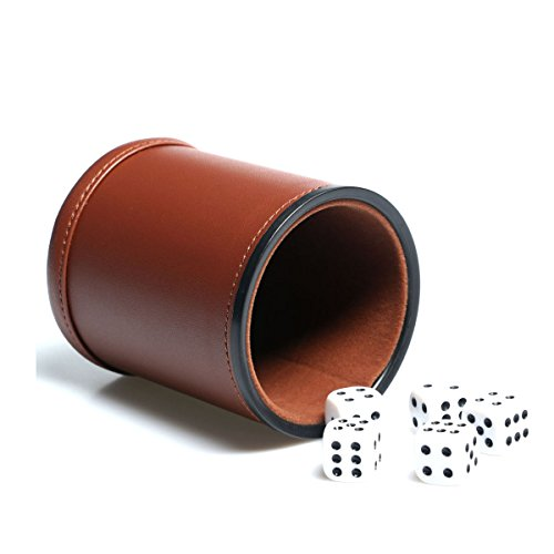 (Leather Dice Cup Set Felt Lining Quiet Shaker with 5 Dot Dices for Farkle Yahtzee Games,Brown)