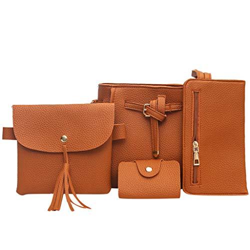 (Womens Four-Piece Handbag Shoulder Bags Fashion Messenger Bag Wallet Purse Cards Bag Handbag Crossbody Tote Bag)