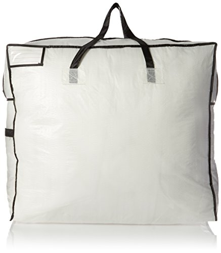 Household Essentials 2622 MightyStor Large Storage Bag with Handles | Clothing and Linen Storage Bag | White Tarp with Black (Polyethylene Storage)