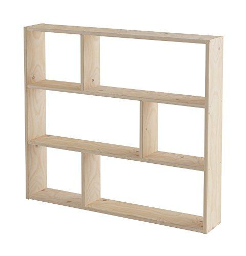 Lufe Asymmetrical Shelf, Pine, brown, 21x 124x 110cm by Lufe