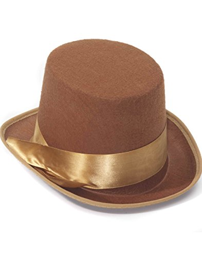 [Steampunk Brown Tan Bell Hop Topper Victorian Willy Wonka Costume Top Hat] (Willy Wonka Costume Accessories)