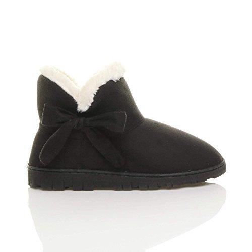 Fausse Bottines Chaussures Noir Femmes Pointure Luxueux Chaussons Chaude Fourrure Ajvani qtX04w4