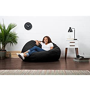 Big Joe Large Fuf Foam Filled Bean Bag Chair, Comfort Suede, Black Onyx
