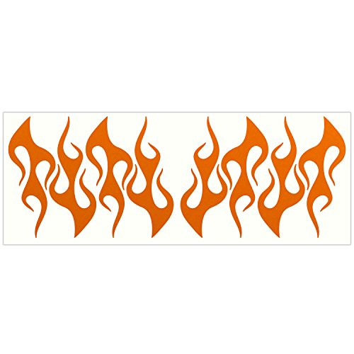 LiteMark Reflective Orange 4 Inch Flames Sticker Decals for Helmets, Bicycles, Strollers, Wheelchairs and More - Pack of 8 ()