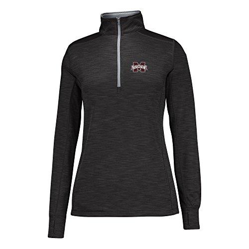 NCAA Mississippi State Bulldogs Women's Courtside Poly Fleece 1/2 Zip Jacket, Medium, Black/Cement