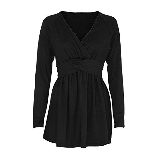 Couleur Solide Flare Manches col Shirt Longues Noir Femmes Mode Sexy Lache Blouse T Tops V MuSheng Profonde en z4CtPFC