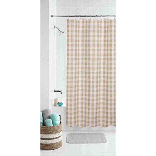 Gingham Shower Curtains - Domestic Home Modern Country Farmhouse Gingham Buffalo Checks Fabric Shower Curtain Bathroom Tan