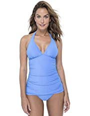 Profile by Gottex Women's Textured Solid Halter V-Neck Tankini Top Swimsuit, Ribbons