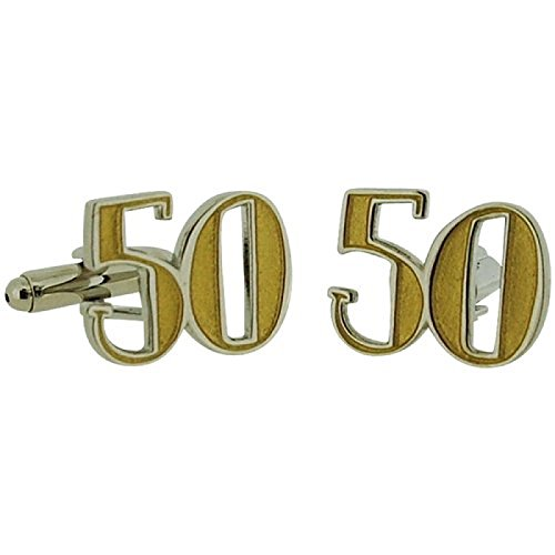 Wendy Jones-Blackett Two Tone Diecast ''Happy 50th Birthday'' - Two Cufflinks Tone Diamond
