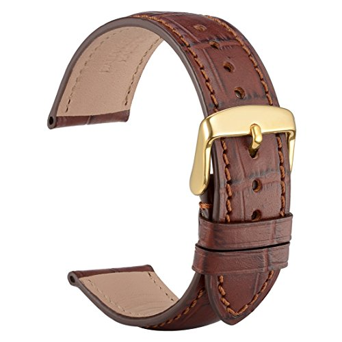 (WOCCI 19mm Alligator Embossed Leather Watch Band,Brown Replacement Strap with Gold Buckle )